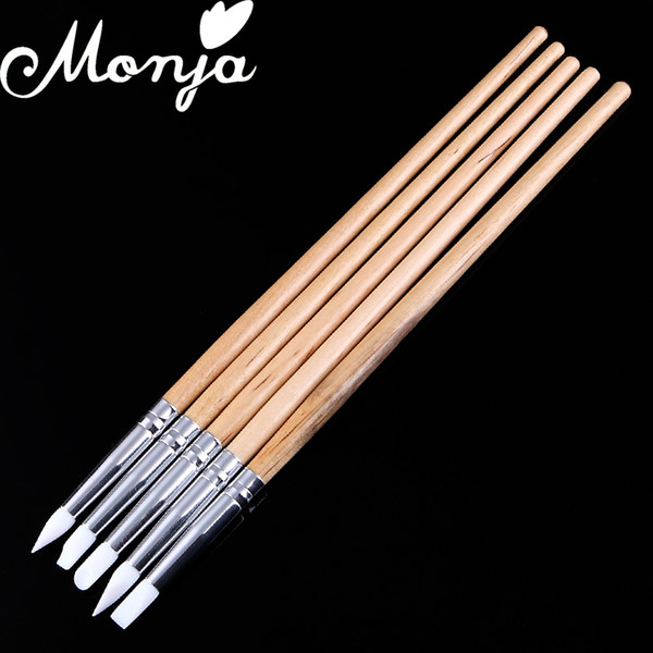 Wholesale- 5Pcs Soft Silicone Nail Art design stamp Wooden Pen Brush Set Carving Craft Pottery Sculpture UV Gel Building brushes DIY Tools