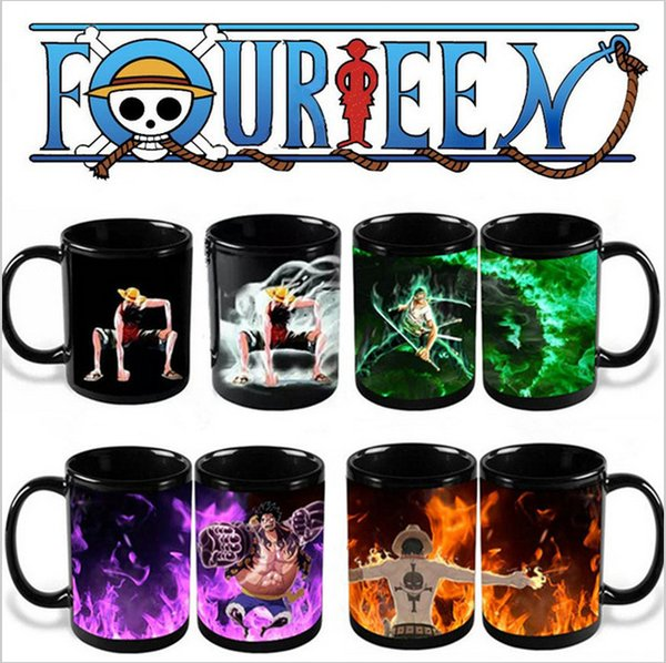 One Piece Cups Ace Zoro LuffyHot Hot Cold Temperature Sensitive Color Changing Coffee Tea Milk Mug Cup With GIFT BOX Drop Shipping