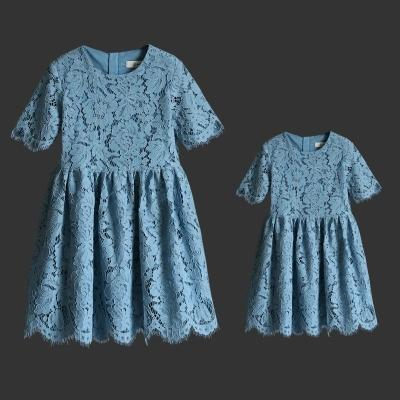 7 Colors Mother Daughter Dresses 2017 Summer Mom and Me Lace Matching Dress Mother and Maughter Clothes for Party Kids Years Wear S072