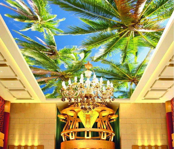 3d ceiling murals wallpaper customize wallpaper for walls 3 d sky ceiling Coconut sky photo wall mural ceiling wall paper