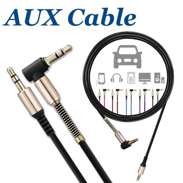 Cavo audio ausiliario 3FT / 1M Cavo audio maschio da 3,5 mm a maschio Cavo a forma di L Ad angolo retto Car Jack per cuffie audio senza confezione