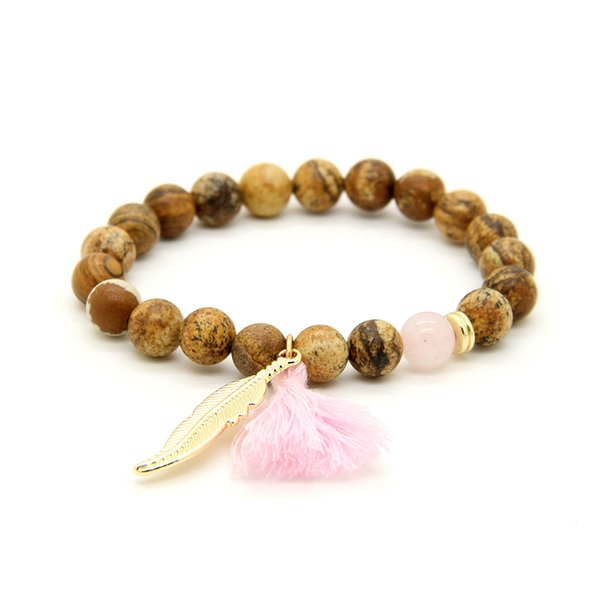 New Design Wholesale 10pcs/lot 8mm Yellow Picture Jasper Stone Beads With Tassel Leaf Couple Lucky Bracelet