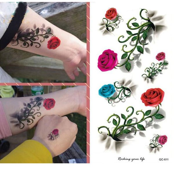 4c9b3f75ab0fd 3D Large Colorful Shine Rose Flowers Girl's Women's Pattern Arm Shoulder Temporary  Fake Tattoo Stickers Waterproof