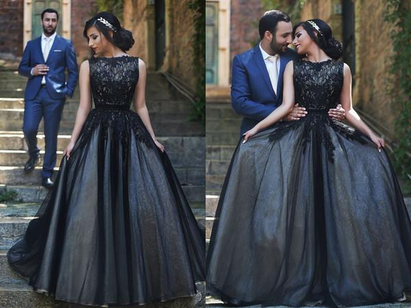 Hot Sale 2016 Black Wedding Dresses Floor Length Tulle Lace Wedding Dresses Bridal Gowns Cheap Plus Size Bohemian Wedding Dress Berta Bridal
