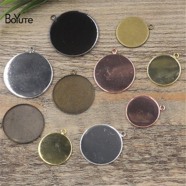 BoYuTe 50Pcs 6 colores redondos 20MM 25MM 30MM Cameo Cabochon Base ajuste Diy colgante bandeja en blanco accesorios de la joyería piezas