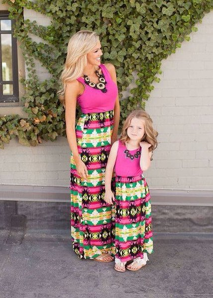 top popular Family Matching Mother Daughter Dresses Clothes Striped Mom and Daughter Dress Kids Parent Outfits Ankle-Length Mother & Kids Clothes 2019