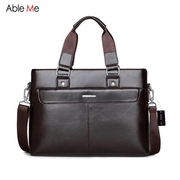 Wholesale- AbleMe 2017 Leather Briefcase Male Portable Leisure Bag Men Handbag Document Business Briefcase Men for 14 Inch Laptop Bag
