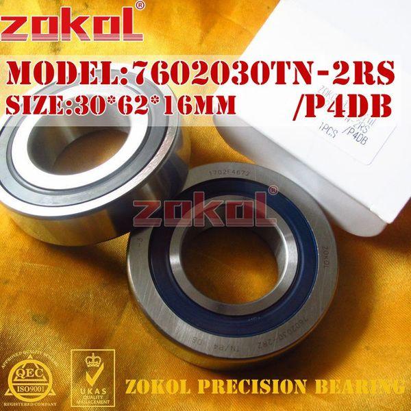 ZOKOL bearing 7602030 TN 2RS P4 DB C 760206 2RSDB Axial Angular Contact Ball Bearing 30*62*16mm