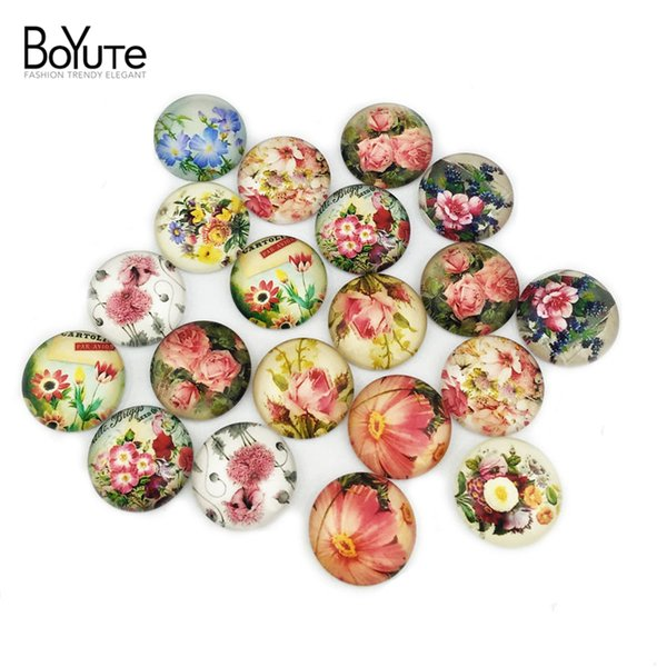 BoYuTe 20Pcs Mix Tower Flower Clock Map Girl Image Glass Cabochon 20mm Diy Jewelry Findings XL6522