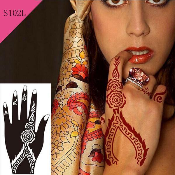 Al por mayor-1pc Nueva flor caliente del brillo Mehndi Henna Plantilla del tatuaje temporal Mujeres atractivas manos Kit de arte corporal Plantilla del tatuaje sabroso a prueba de agua