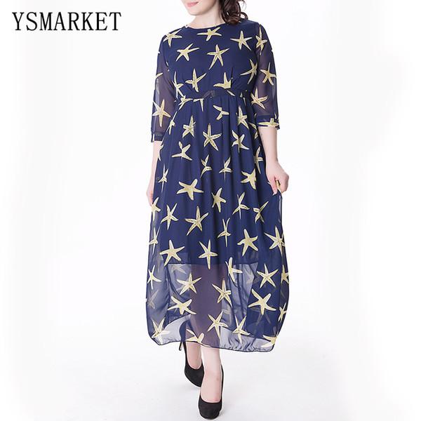 2017 Plus Size 6XL Women Half Sleeve Dress A Line Stars Print Sexy O Neck Party Elegant Clothing Navy Chiffon Maxi Dress 0065