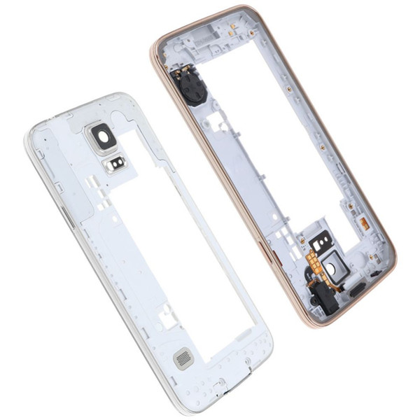 10PCS for Samsung Galaxy S5 G900 G900A G900T G900P G900 G900F Middle Frame Plate Bezel Cover Housing Chassis with Back Camera Glass Lens
