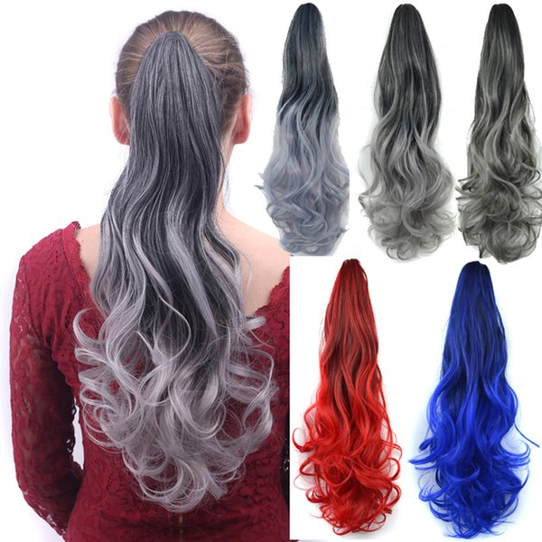 "Sara 55cm,22"" Ombre Color Curly Synthetic Clip In Claw Ponytail Hair Extension Pony Tails Hairpiece 130g with a jaw/claw clip"