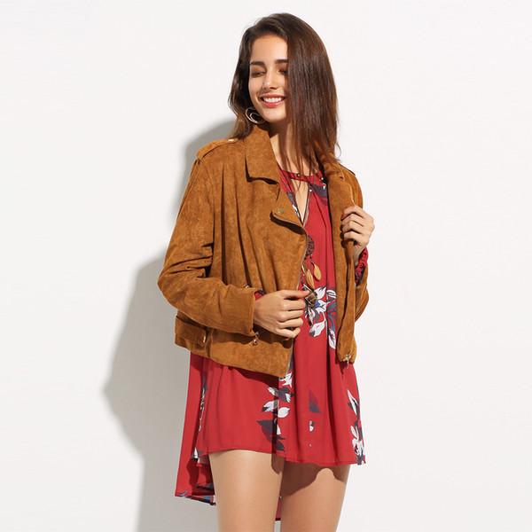 Fashion Camel Women Coats Turn-down Collar Long Sleeve Zipper Tops Women Double Pockets Slim Casual Biker Jackets