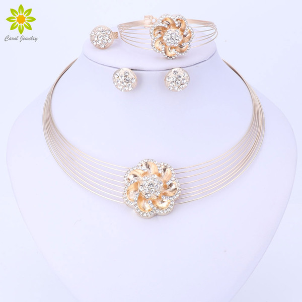 Women Jewelry Sets Crystal Necklace Set African Beads Earrings Gold Plated Flower Pendant Wedding Dress Accessories