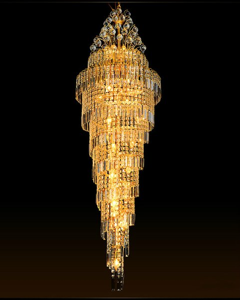 Modern Escada Luminárias Lustres de Cristal Lâmpadas E14 E12 Lâmpada K9 Lâmpada de Cristal Villa Grande Lustre Luzes Escada Longo 110 V 220 V Ouro