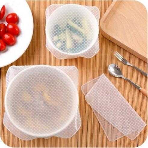 Fresh Keeping Film Transparent Silicone Food Covers Wraps Stretch Seal Cling Cover Lids Vegetables Fruits Kitchen Tools CCA6368 120pcs
