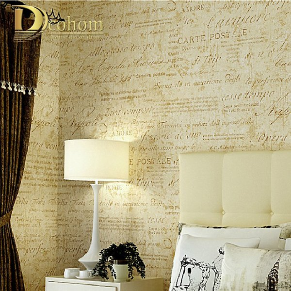 amarillento cremoso palabras blancas papel pintado de la vendimia rollo para papel decorativo