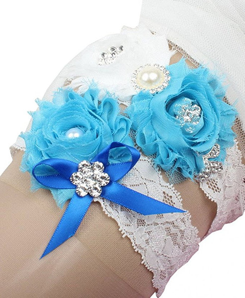 Turquoise Bridal Garters Chiffon Flowers Rhinestones Pearls Lace Vintage Wedding Bridal Leg Garters Bow Plus Size Cheap In Stock