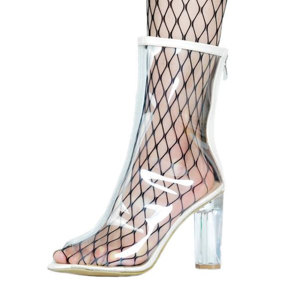 07ad55dbdc72e0 Zandina Womens New Arrival Handmade PVC Clear Thick High Heel Shoes  Peep-toe Summer Sexy Fashion Boots XD402