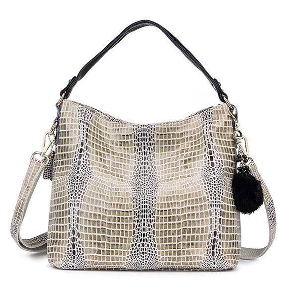 Wholesale- Women Genuine Leather Crocodile Bags European and American Style Messenger Bags With Fur Ball Embossed Handbag Luxury Totes