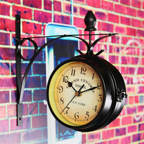 Patio Charminer Double Sided Round Wall Mount Station Clock Garden Vintage Retro Home Decor Metal Frame Glass Dial Cover