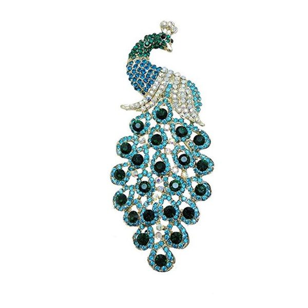 Graceful Big Peacock Brooch Pin Jewelry for Women ( Pink & Blue color )