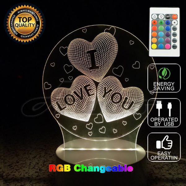 New Romantic Color 3D Heart Illusion I LOVE YOU 7 Couleurs Change Light Touch Switch Lampe LED Câble USB