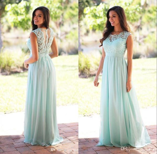 Compre Vestidos Largos Para Damas De Honor De Color Verde Menta Una Línea De País Vestido De Dama De Honor Color Turquesa Vestidos Sencillos Para