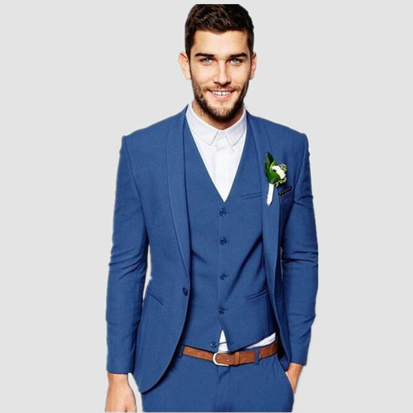 Royal Bule One Button Men Suits Fashion Latest Coat Pant Design custom suits Men Slim Fit Suit(Jacket+vest+pants)