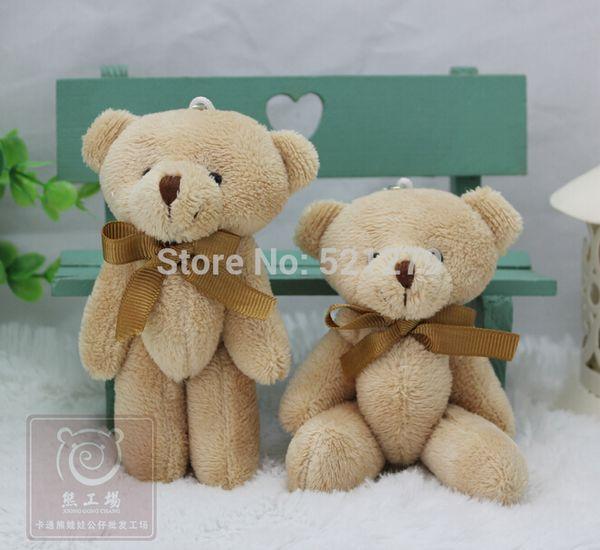 Venta al por mayor - T108 Envío gratis 24pcs / lot Promoción 12 CM pajarita marrón oso de peluche mini conjunto llavero de peluche oso ramo juguete / teléfono colgante
