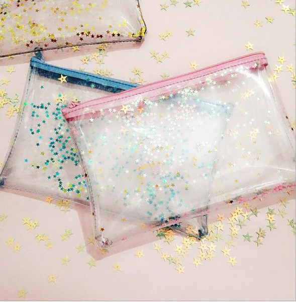 PVC Bling Star Pattern Cosmetic Bag Transparent Waterproof Makeup Bag with Zipper Travel Wash Case Pouch Toiletry Organizer Bag KKA3063