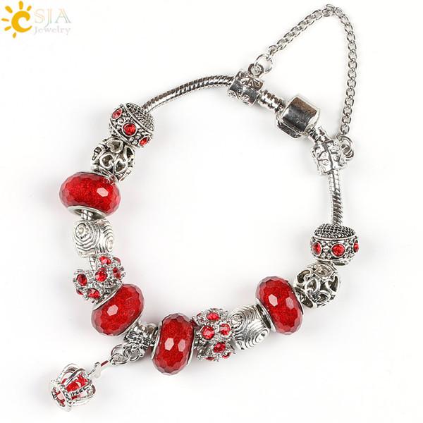 CSJA Friendship Jewelry Plate Silver Pendant Crown Cross DIY Female Charm Bracelet Pink Purple Crystal Bead Queen Jewellery E205