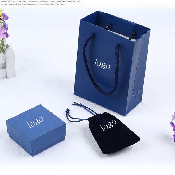 Venta caliente marca famosa marca brazalete y anillos y cajas de pendientes conjunto con bolsa de marca original bolsa de terciopelo swa embalaje caja de regalo azul