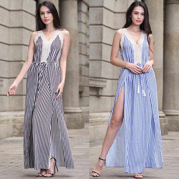 Vintage Striped Dress Sleeveless Casual Long Dresses Summer Women Clothes Lace Split Slim Fit Blue White Hot Sale