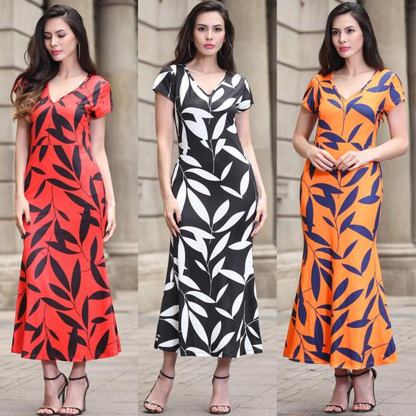 Printed Leaves Mermaid Dresses High-end Casual Short Sleeve Women V Neck Long A Line Vintage Dress