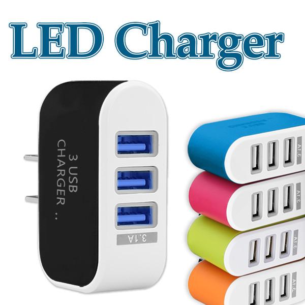 3 USB chargeur de mur adaptateur LED adaptateur de voyage triple ports USB chargeurs Home Plug pour téléphone mobile avec Opp package