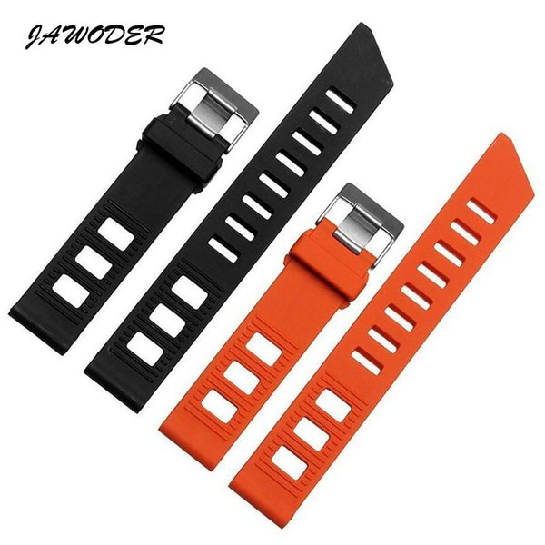 JAWODER Watchband 20mm Flat Interface Orange/Black Diving Silicone Rubber Watch Band Strap Stainless Steel Silver Buckle for Omega