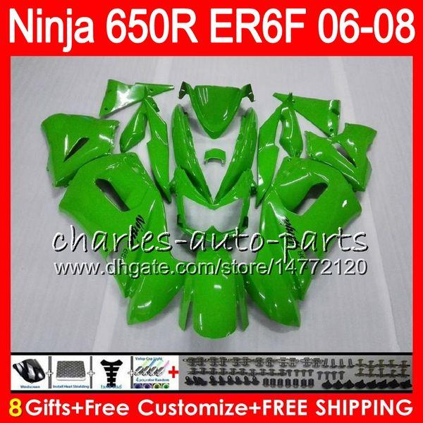 vert brillant 8Gifts 23Colors Body Pour KAWASAKI NINJA 650R ER6F 06 07 08 Ninja650R 20HM2 ER 6F 06-08 ER6 F ER-6F 2006 2007 2008 Kit de carénage