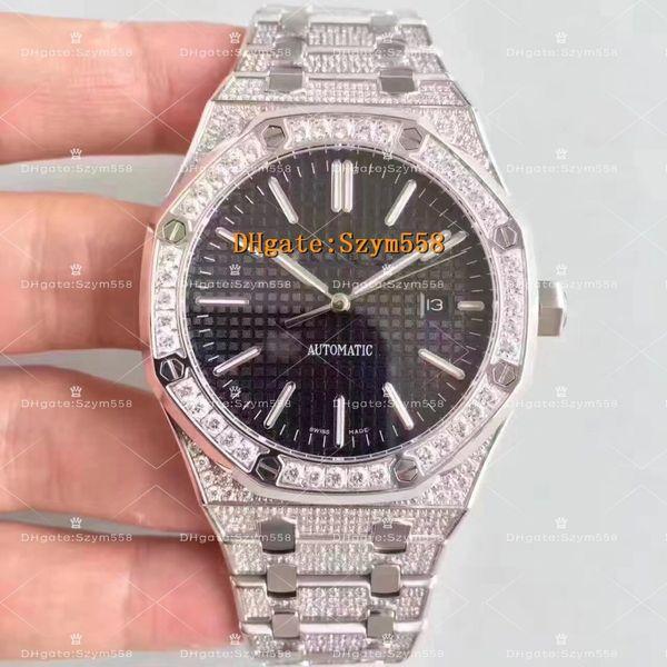15400 Full Diamond Watch Sweep Move High Quality Watch Man Automatic Movement Hip-Hop Set Diamond Waterproof 41mm 316 Stainless Steel