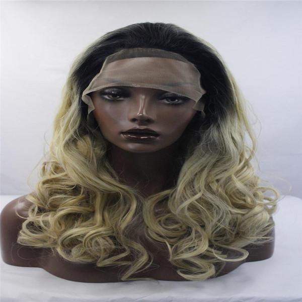 kabell Moda lave pelucas delanteras Negro raíz oro onda grande frente de encaje sintético peluca mezclado fibra de pelo resistente al calor Pelo rizado Colores mezclados