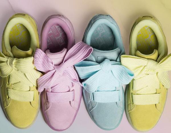 2017 HOT cesta de camurça coração cetim fenty bowknot rosa plana Creeper Skate sapatos tênis de seda banded arco com caixa 36-40