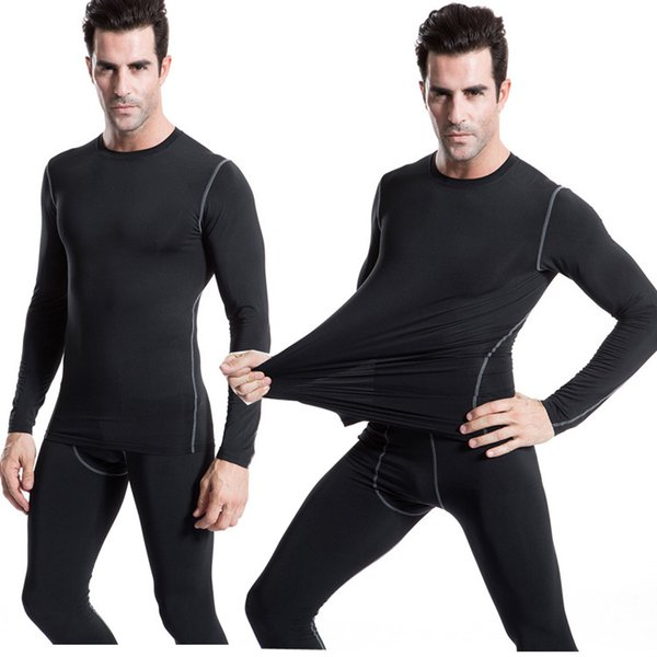 Mens Plain Design Compression Shirt for Gymnastic T-shirts Men Long Sleeve Breathable Skin Tights Free Shipping