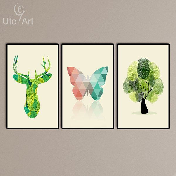 Modern Canvas Art Print Poster Canvas Oil Painting Digital Prints Butterfly Deer Tree Wall Pictures for Living Room