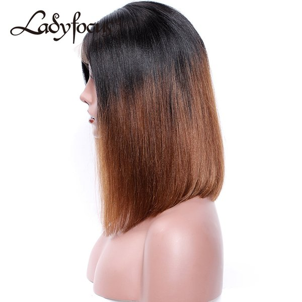 Ombre 1B 30 Short Bob Wig Glueless Full Lace Wig With Baby Hair Straight Lace Front Human Hair Wigs For Black Women
