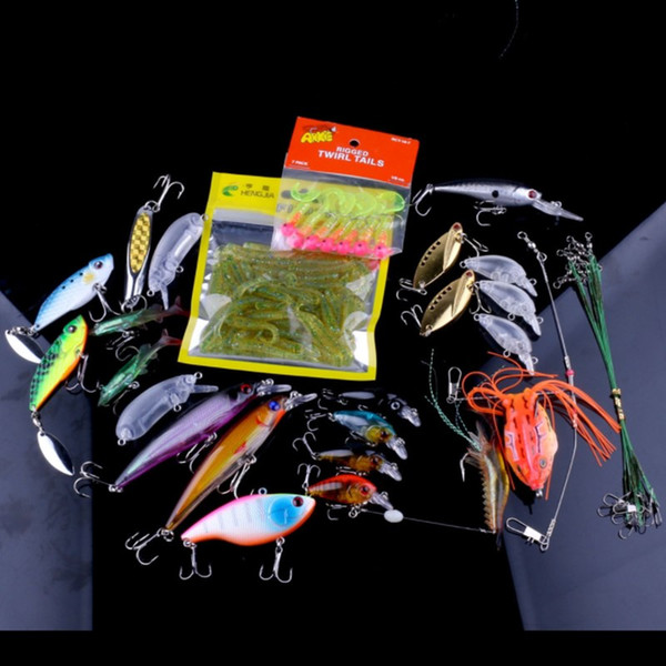 90PCS Simulated Fishing Lures Suits Lifelike Shrimp Soft Baits Jigging Heads Hooks Minnow and Frog Lure of 436g Outdoor Fishing Tackle Sets