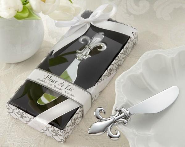 Fleur de Lis Chrome Spreader Butter Knife 20PCS/LOT Wedding Favor Kitchen Wedding Gifts and Unique Party favors Guest giveaway