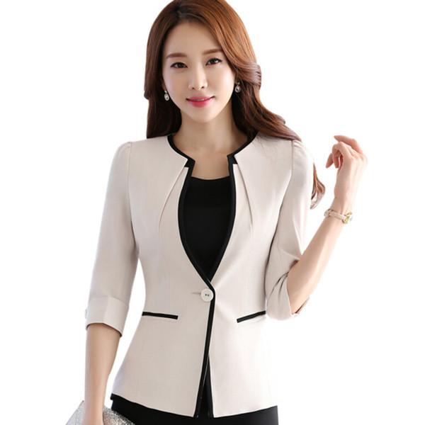 Moda femenina carrera media manga mujer blazer New OL tallas grandes chaquetas delgadas formales señoras de oficina tallas grandes ropa de trabajo uniforme