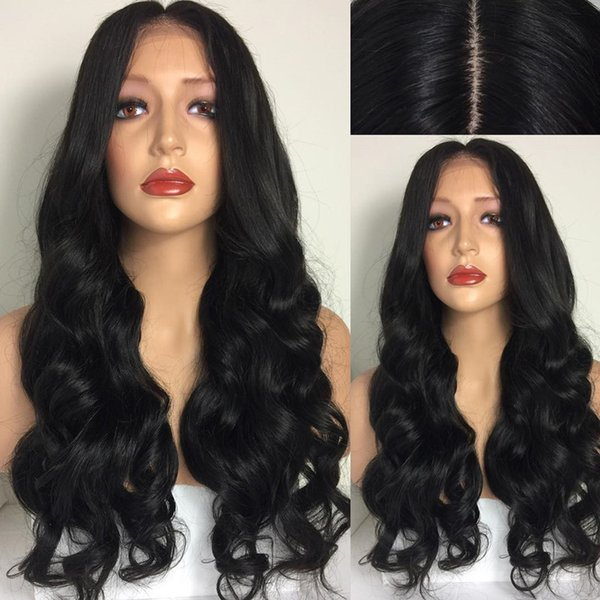 Best quality Glueless Silk Top Full Lace Wigs natural hairline Virgin Brazilian Human hair Wavy Middle part Lace Front Wigs