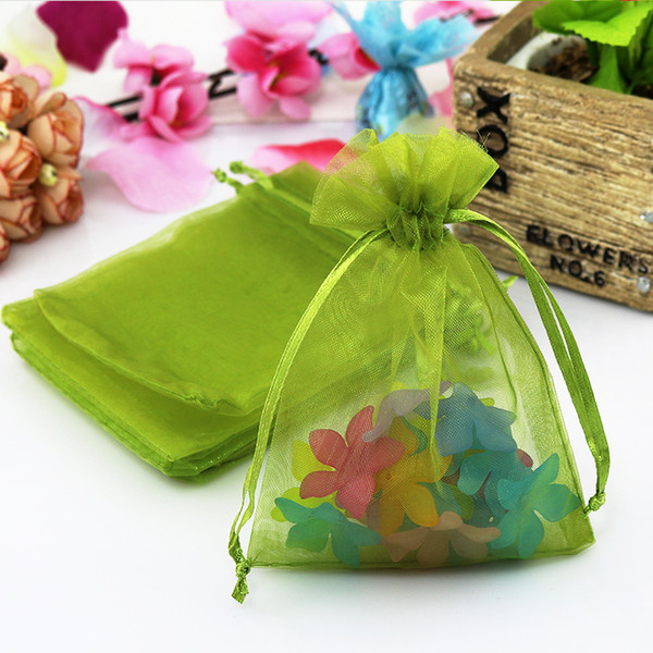 Small Jewelry Necklace Earrings Packaging Bags Wholesale 100pcs Olive Green 7*9cm Fabric Organza Pouches Wedding Gift Bags Supply Brand Logo